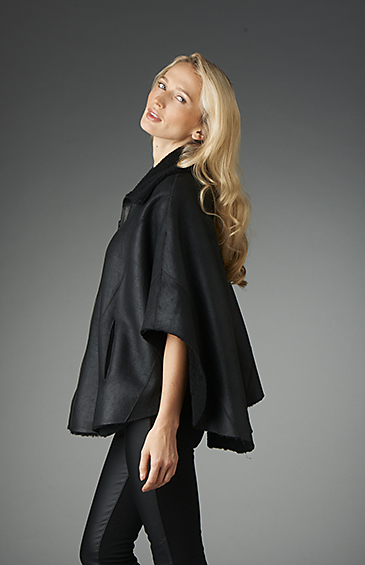 reversible shearling cape