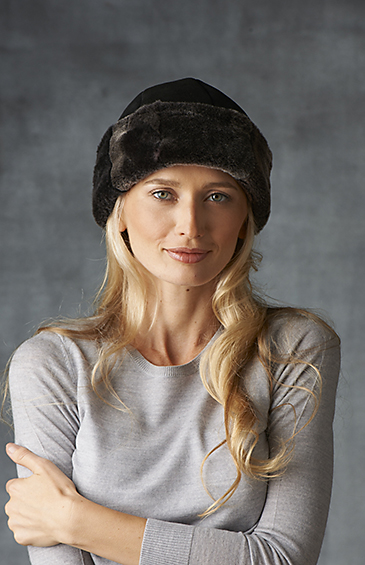 shearling cuff hat for women