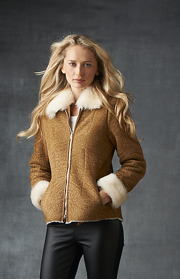 sand color shearling bomber for women