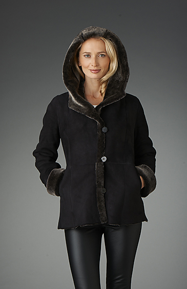 hooded women's shearling sheepskin jacket