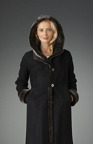 hooded shearling coat for women