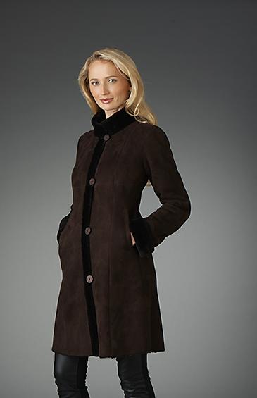 shaped shearling jacket for women