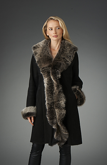 lamb trimmed shearling jacket for women