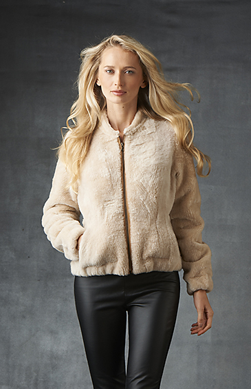 wool out shearling bomber for women