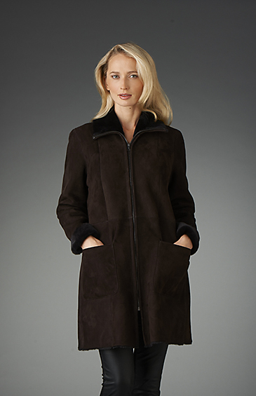 a line shearling for women with zip front