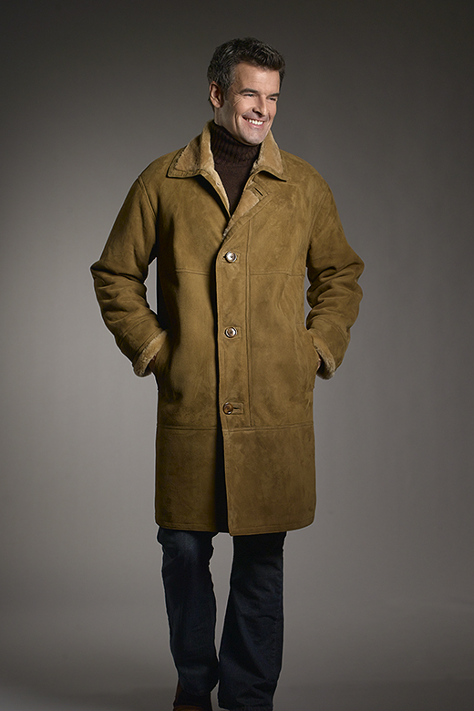 full length shearling coat for men