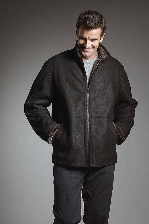 shearling sheepskin bomber jacket for men style Simon