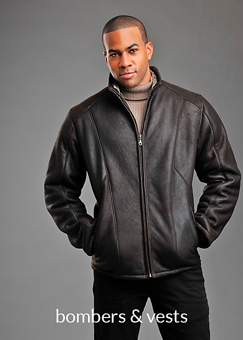 brown frosted napa shearling bomber jacket for men