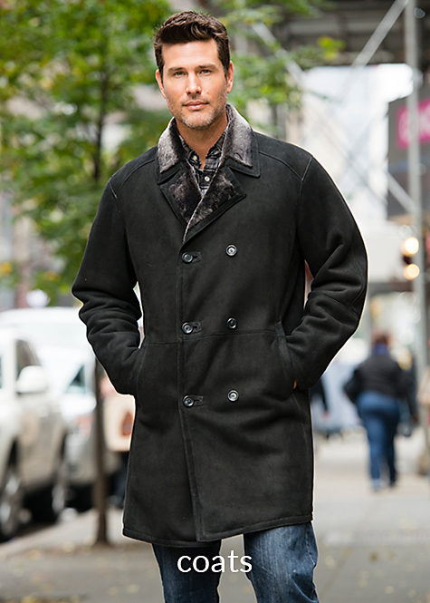 black with frosted wool double breasted shearling coat for men