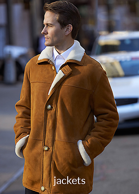 cognac color men's shearling jacket with placket front