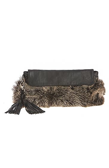 sheepskin shearling clutch bag