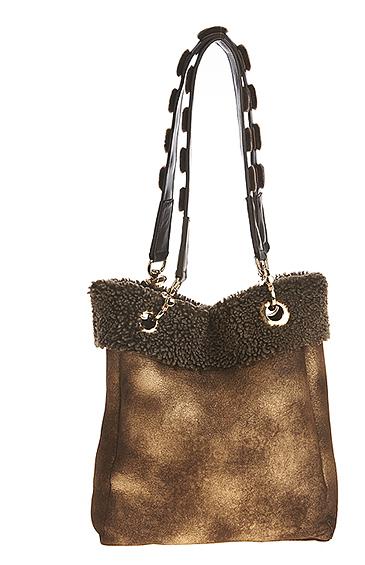 sheepskin shearling tote bag