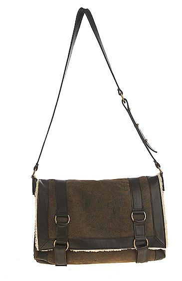 sheepskin shearling messenger bag