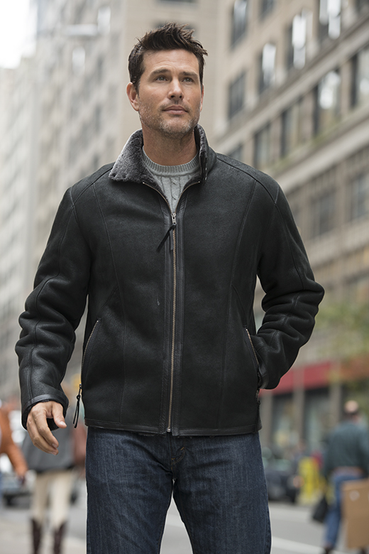 shearling sheepskin bomber jacket for men
