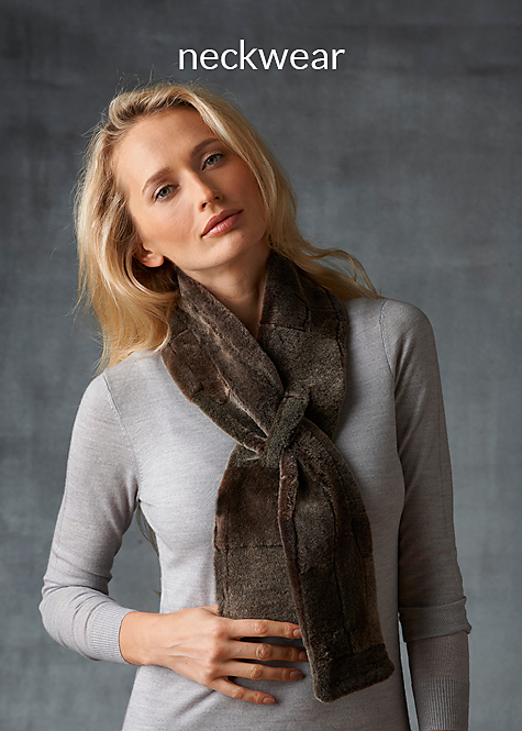 frosted women's shearling neck scarf