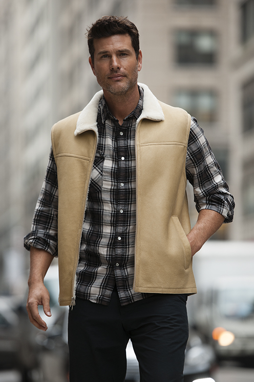 shearling sheepskin vest for men