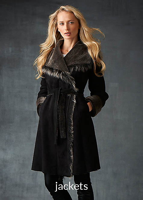black with frosted wool shearling wrap for women