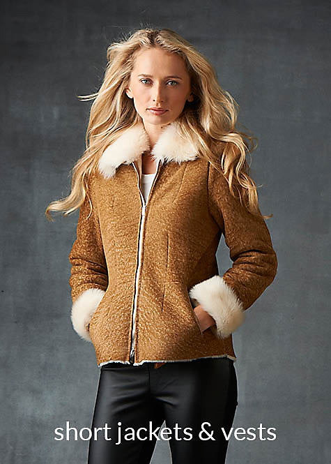 sand color shearling bomber for women with toscana lamb collar