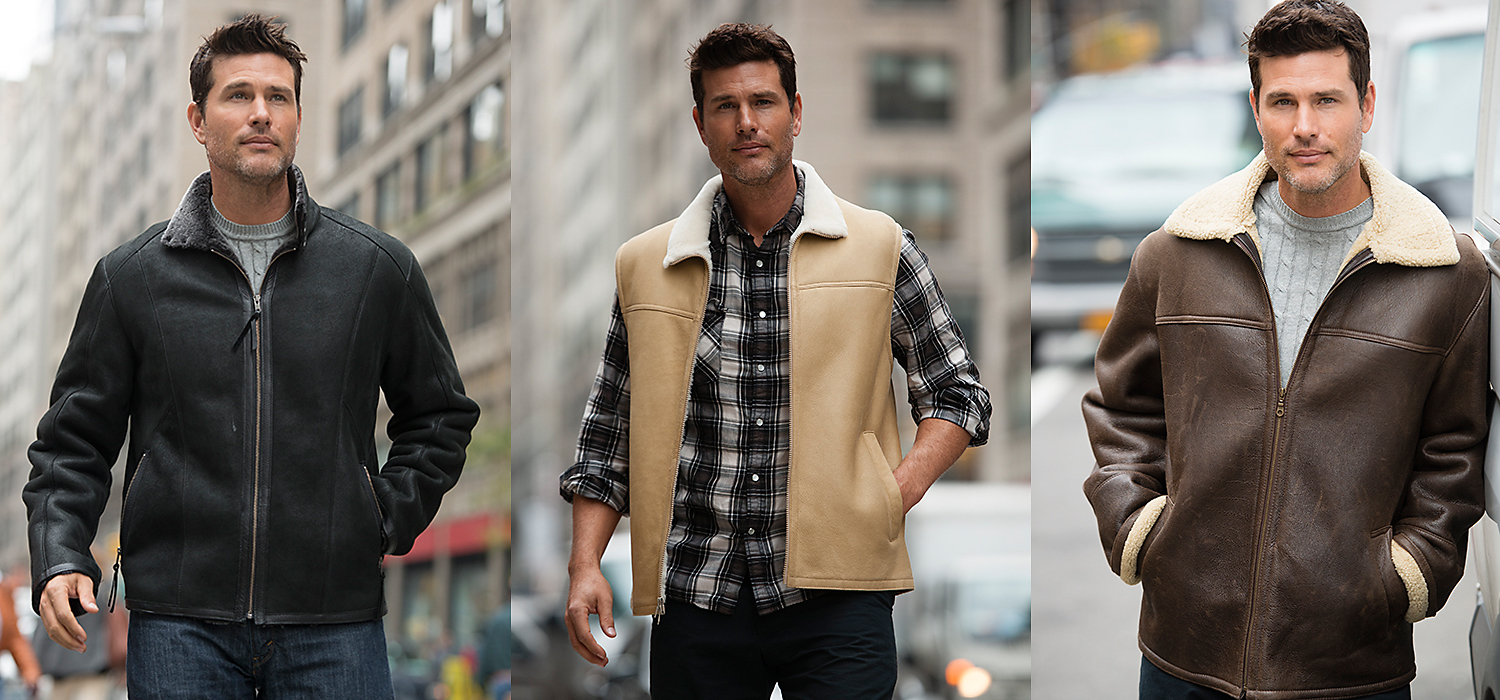 short shearling jackets for men