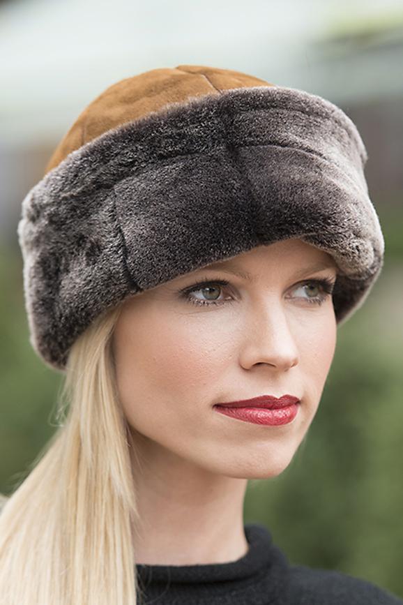 shearling sheepskin hat for women