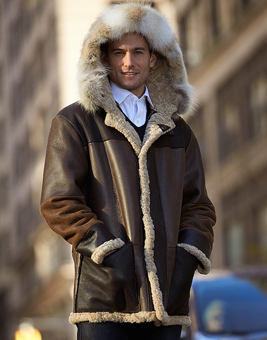 hooded sheepskin shearling parka style for man with fur trimmed hood