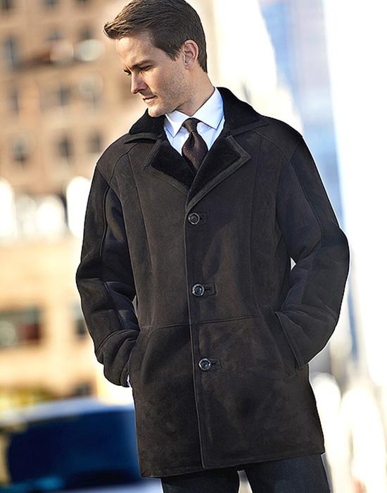 classic shearling sheepskin jacket for men
