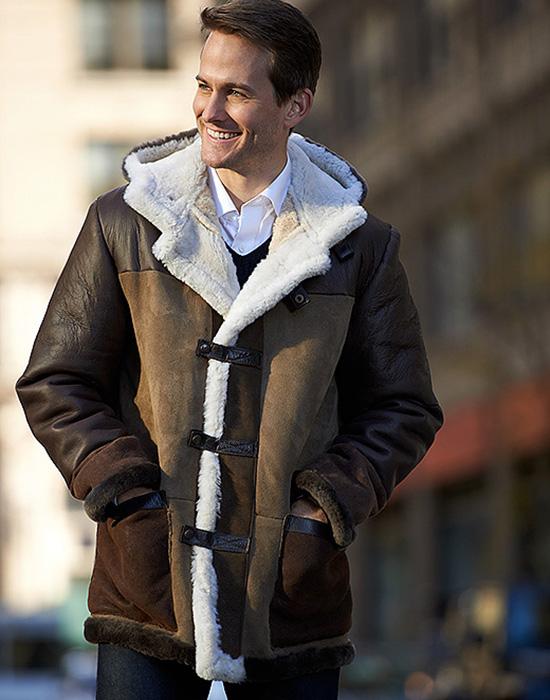 hooded sheepskin jacket for man