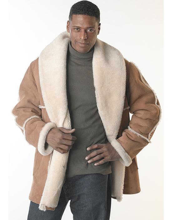 shearling sheepskin jacket for man with shawl collar