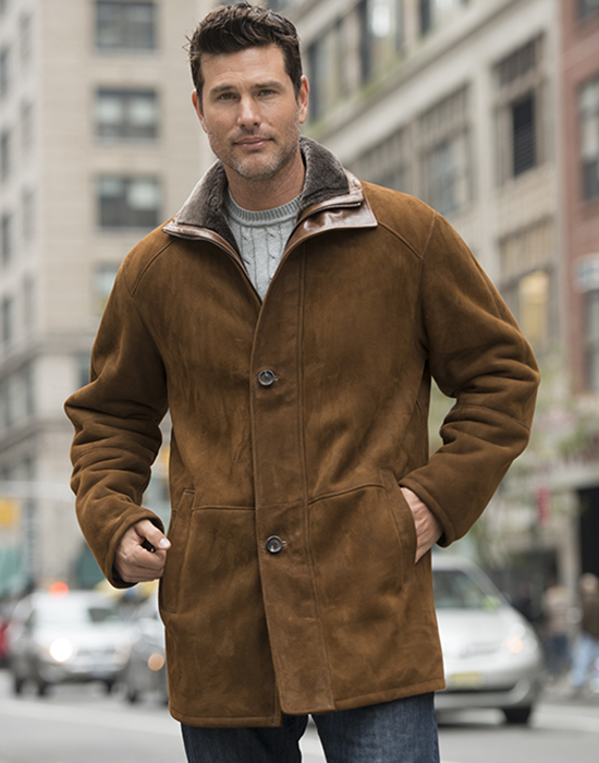 shearling jacket for men with leather details