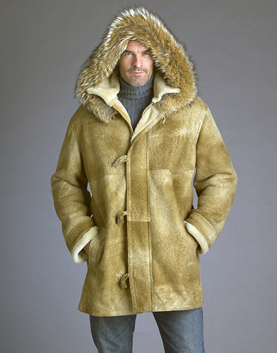 shearling parka for men with coyote trimmed hood