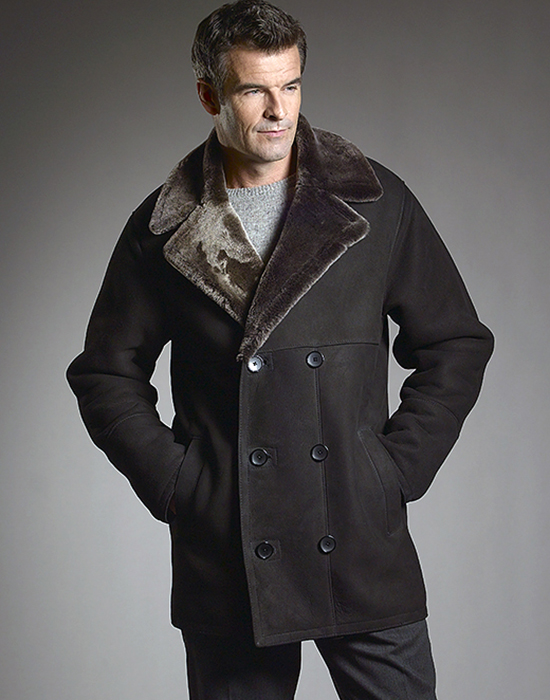 double breasted shearling for men