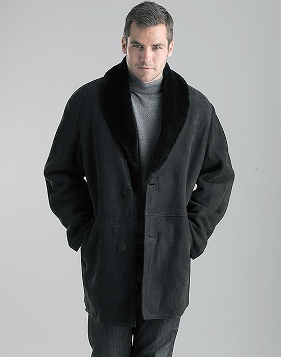 shawl collar shearling jacket for man