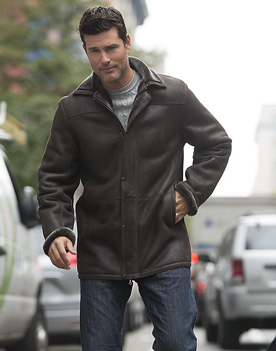 shearling sheepskin jacket for man