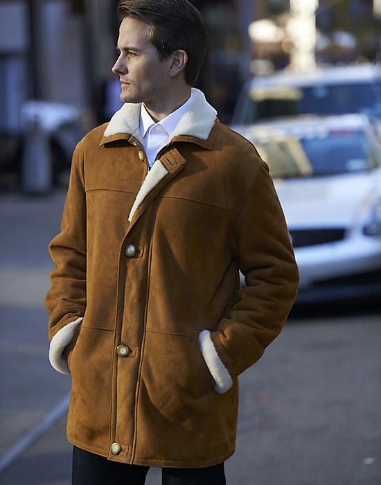 shearling jacket for man cognac color