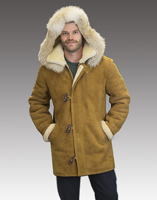 mens shearling with coyote trimmed hood and toggles