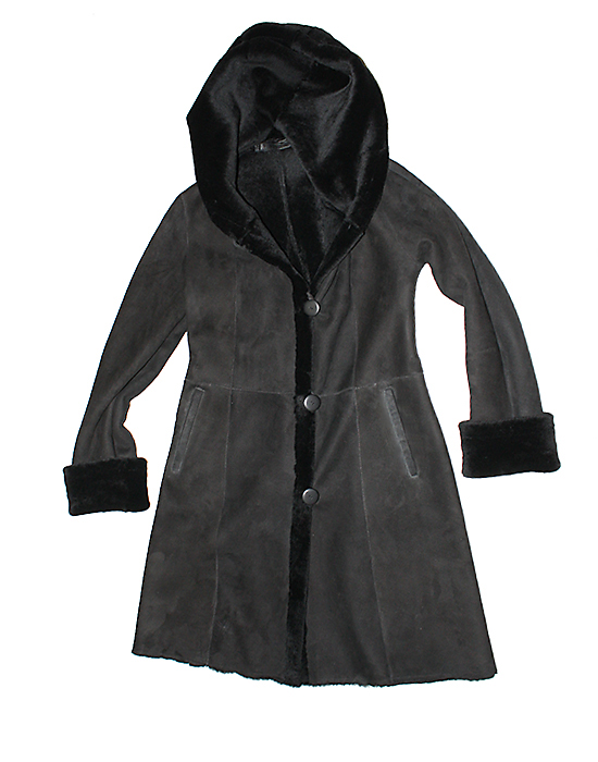 shaped shearling jacket for women with hood